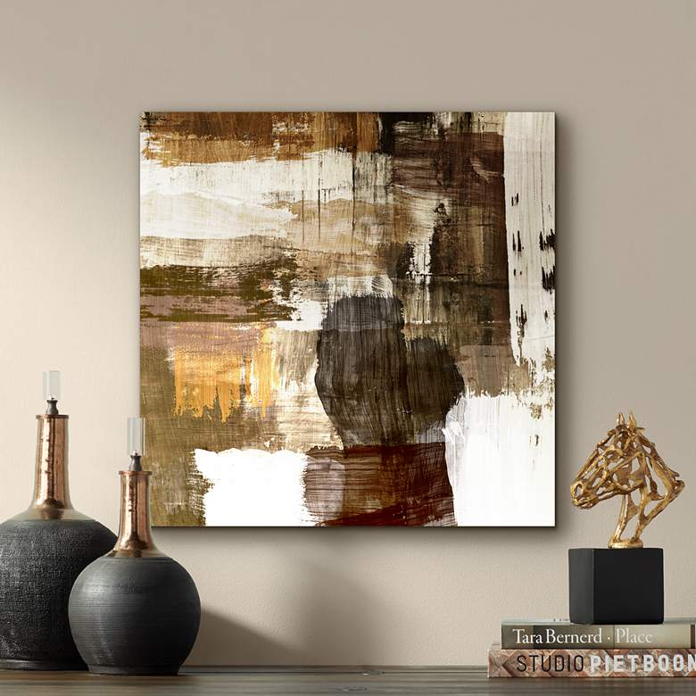 "Abstract Warm Neutral Canvas 20"" Square Giclee Wall"