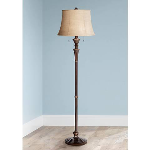 Brooke Twin Pull Chain Bronze Floor Lamp