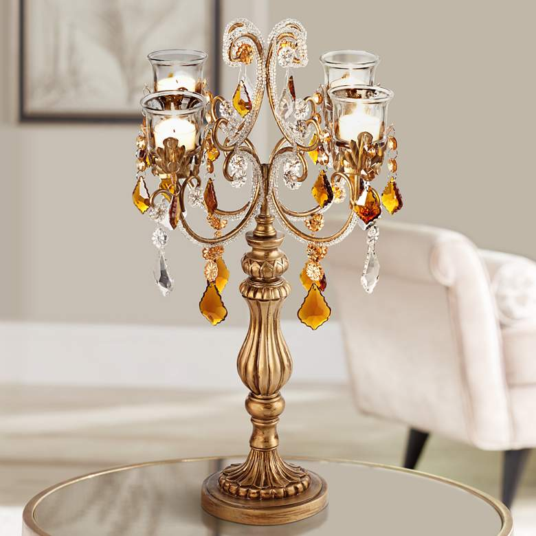 "Golden Droplets 19 1/2"" High Candelabra Votive Candle"