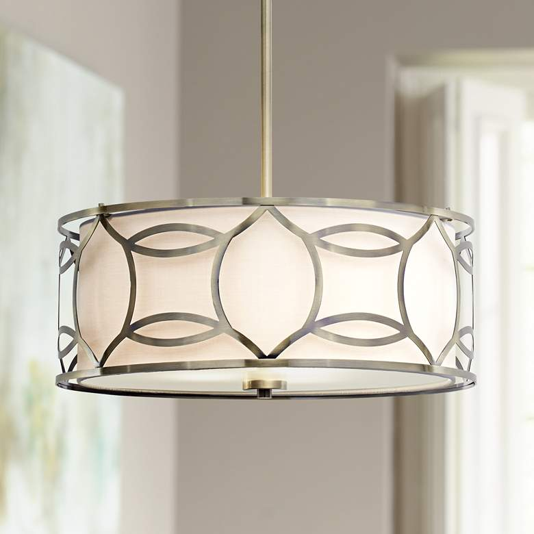 "Roxbury 22"" Wide Antique Brass Pendant Light"