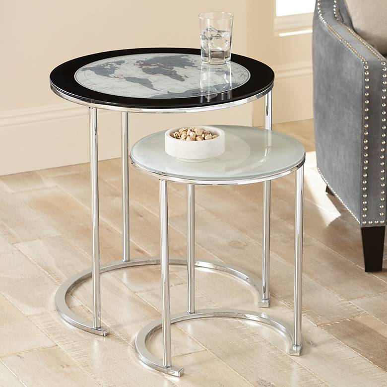 "World Map 23 1/4"" Chrome and Glass 2-Piece Nesting Tables"