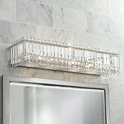 "Possini Euro Crystal Columns 30"" Wide Chrome Bath Light"