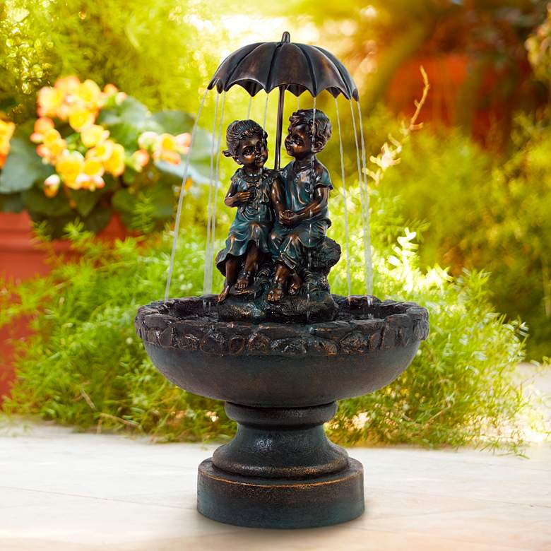 "Boy and Girl Under Umbrella 40"" High Indoor/Outdoor Fountain"