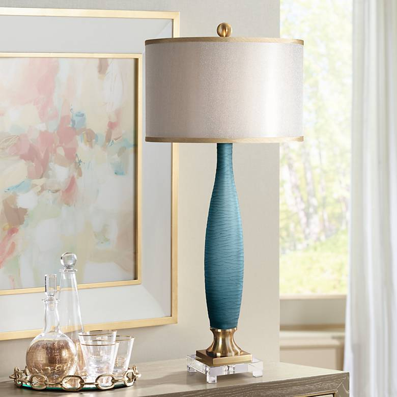 Uttermost Alaeia Etched Cobalt Glass Table Lamp