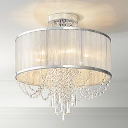 "Ellisia 19 3/4""W Silver Organza Shade Chrome Ceiling Light"