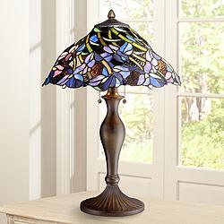 Grady Floral Swirl Tiffany Style Table Lamp