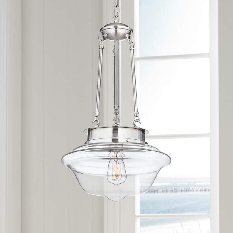 "Possini Euro Schoolhouse 13"" Wide Brushed Nickel LED"
