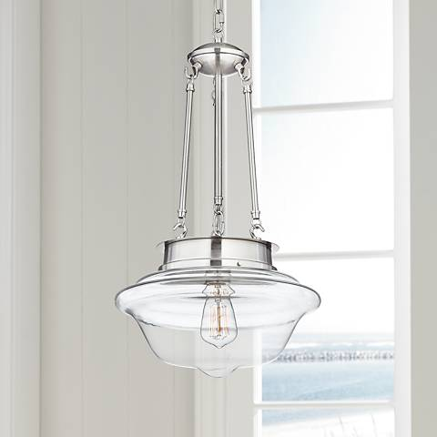 "Possini Euro Schoolhouse 13""W Brushed Steel LED Pendant"