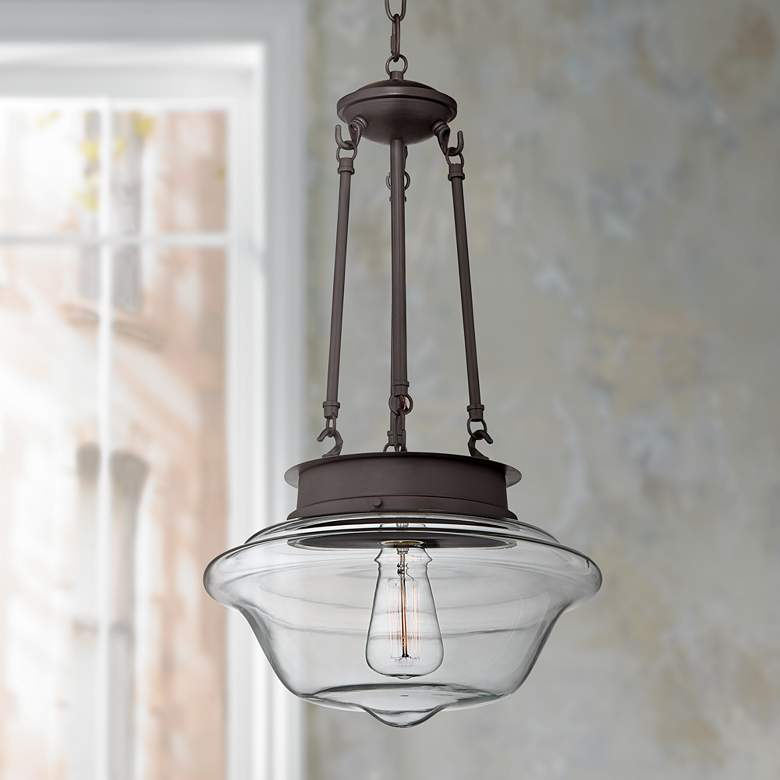 Possini Euro Schoolhouse 13 Wide Bronze Led Pendant Light