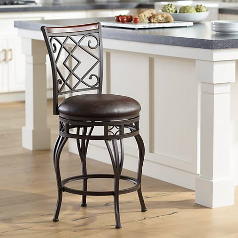 "Hartley 25"" Wood and Bronze Metal Swivel Counter Stool"