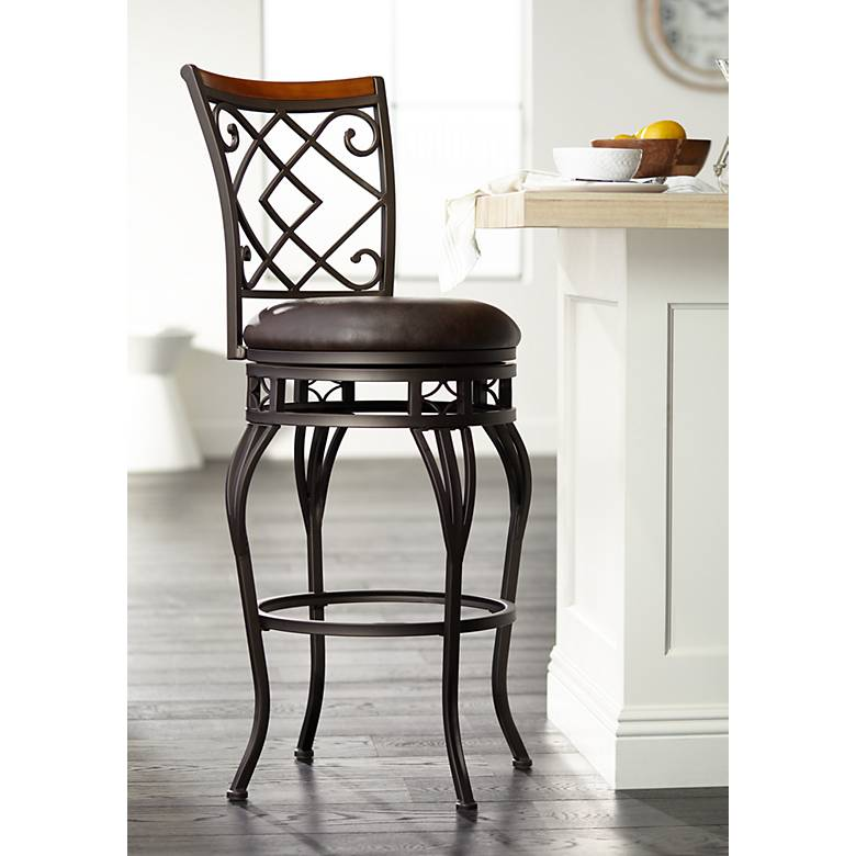 "Hartley 30"" Wood and Bronze Metal Swivel Bar Stool"