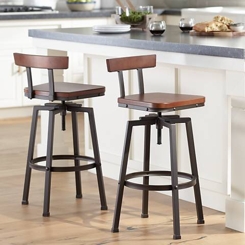Roark Dark Bronze Adjustable Swivel Bar Stools Set Of 2
