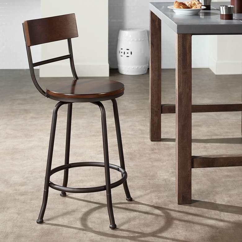 Magnificent Langdon 24 1 4 Wood And Bronze Swivel Counter Stool Pdpeps Interior Chair Design Pdpepsorg