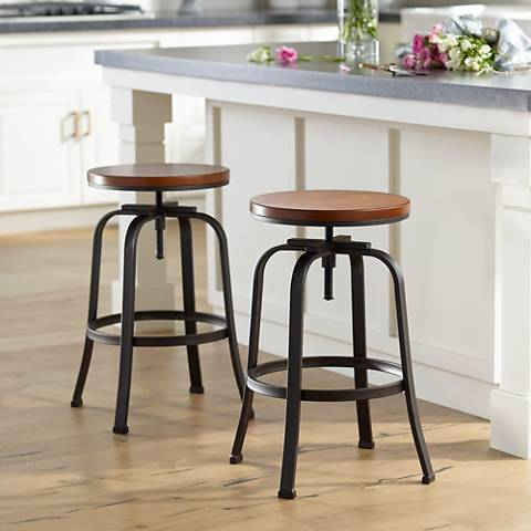 Radin Hammered Bronze Adjustable Swivel Bar Stools Set of 2