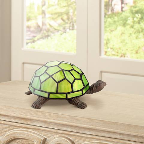 "Green Tiffany Shell 3 1/2""H Turtle LED Accent Lamp"