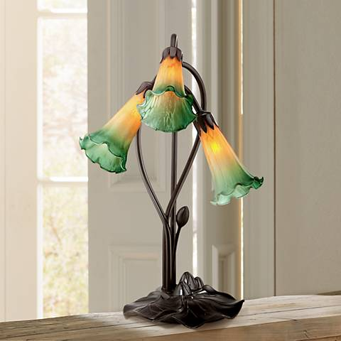 "Amber Lily Flower 17"" High Accent Table Lamp with LED Bulbs"
