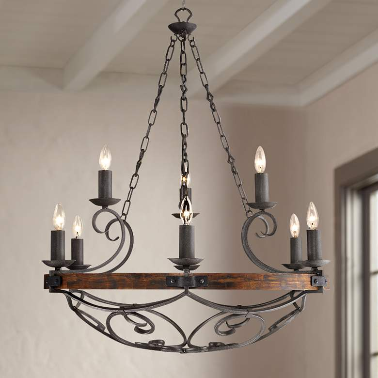 "Madera 34 1/2"" Wide Black Iron Hand-Forged Chandelier"