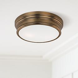 "Maxim Fairmont 13"" Wide Aged Brass Ceiling Light"