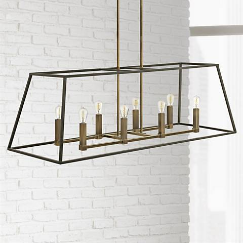 "Hinkley Fulton 48"" Wide 8-Light Bronze Linear Chandelier"