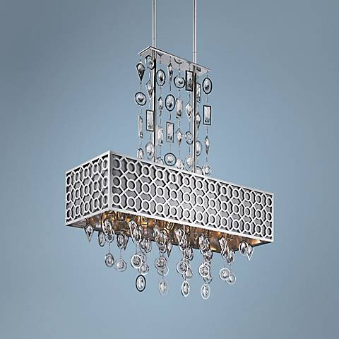 "Maxim Symmetry 32"" Wide Polished Nickel Pendant"