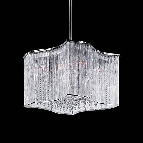 "Maxim Swizzle 19"" Wide Polished Chrome Pendant"