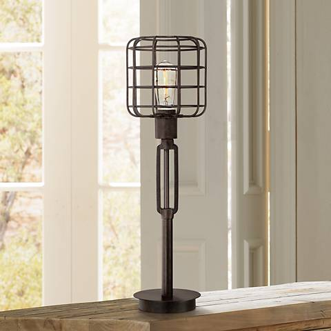 Bronze Industrial Cage Accent Lamp