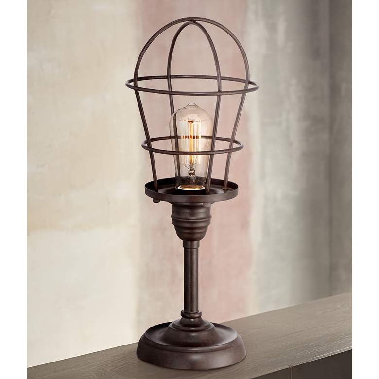 "Franklin Iron Works Industrial Wire Cage 17 1/4"" Accent Lamp"