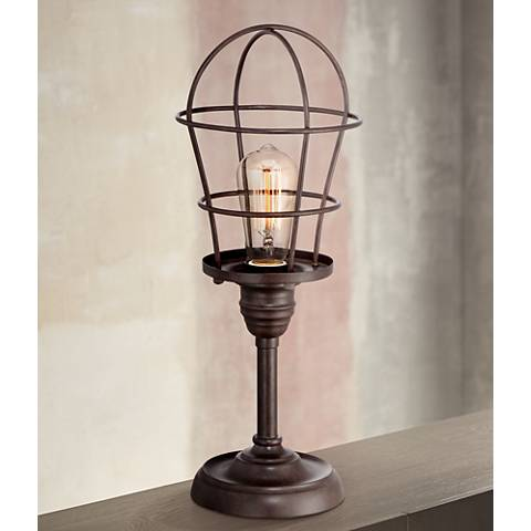 Franklin iron works industrial wire cage 17 14 accent lamp franklin iron works industrial wire cage 17 14 accent lamp aloadofball Gallery