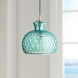 "Clark Collection 10"" Wide Aqua Jamie Young Glass Pendant"