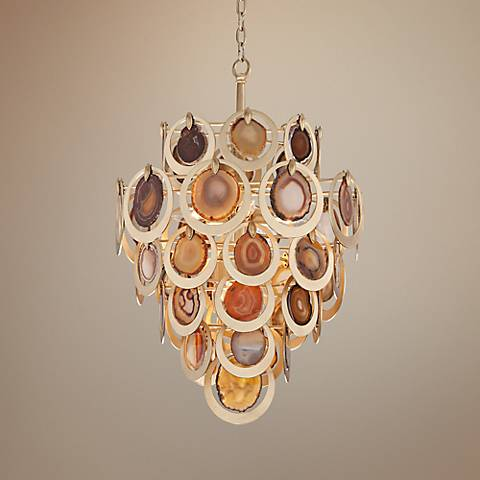 "Corbett Rockstar Collection 19 1/4"" Wide Gold Leaf Pendant"