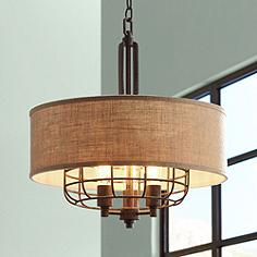 Drum pendant lighting lamps plus canada tremont 20 wide rust led pendant lt by franklin iron works aloadofball Images