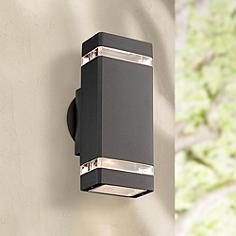 Halogen outdoor lighting lamps plus possini euro rectangular graphite updown outdoor wall light workwithnaturefo