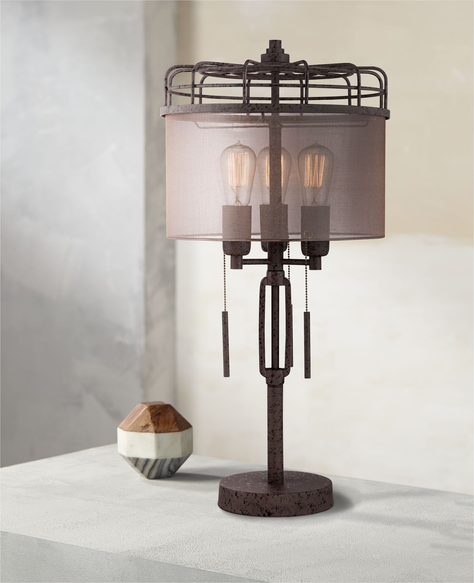Charmant Lock Arbor Industrial Cage Metal Table Lamp