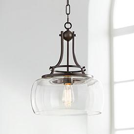 Charleston 13 1 2 Wide Clear Gl And Bronze Pendant Light