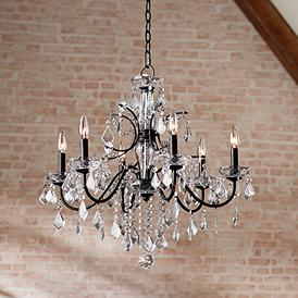 Beverly 26 Wide Dark Bronze Frame Clear Crystal Chandelier