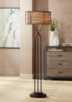 Rustic lodge floor lamps lamps plus marlowe woven bronze metal floor lamp mozeypictures Images