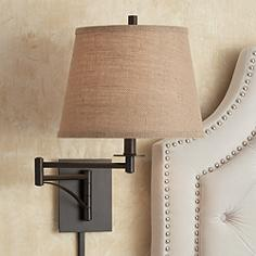 Brinly Burlap Shade Brown Plug In Swing Arm Wall Lamp