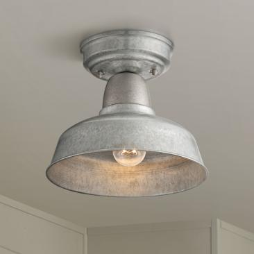 "Urban Barn 10 1/4""W Galvanized Steel Outdoor Ceiling Light"
