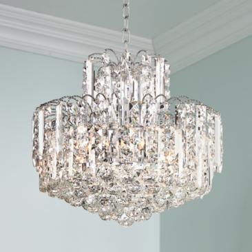 "Leya 19"" Wide Chrome and Crystal 6-Light Chandelier"