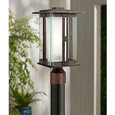 Franklin iron works post light outdoor lighting lamps plus double glass 15 34 mozeypictures Choice Image