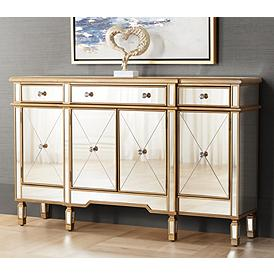 Bailey 60 Wide 4 Door Gold Mirrored Buffet Console