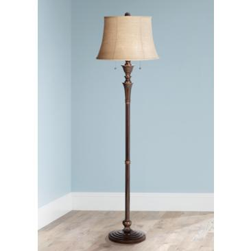 Brooke Twin Pull Chain Traditional Bronze Floor Lamp