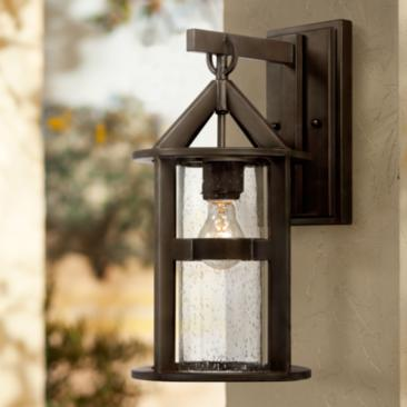 "Argentine 17"" High Glass and Bronze Outdoor Wall Light"