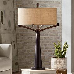 Transitional table lamps lamps plus tremont bronze iron table lamp mozeypictures Images