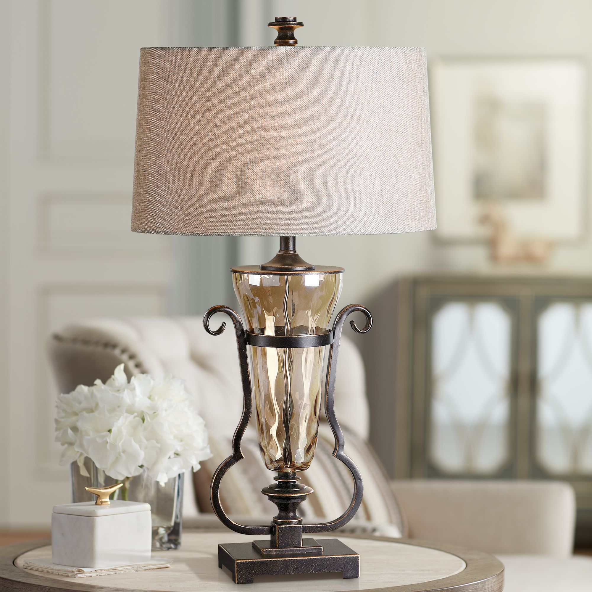 Uttermost Amilliana Amber Water Glass Table Lamp