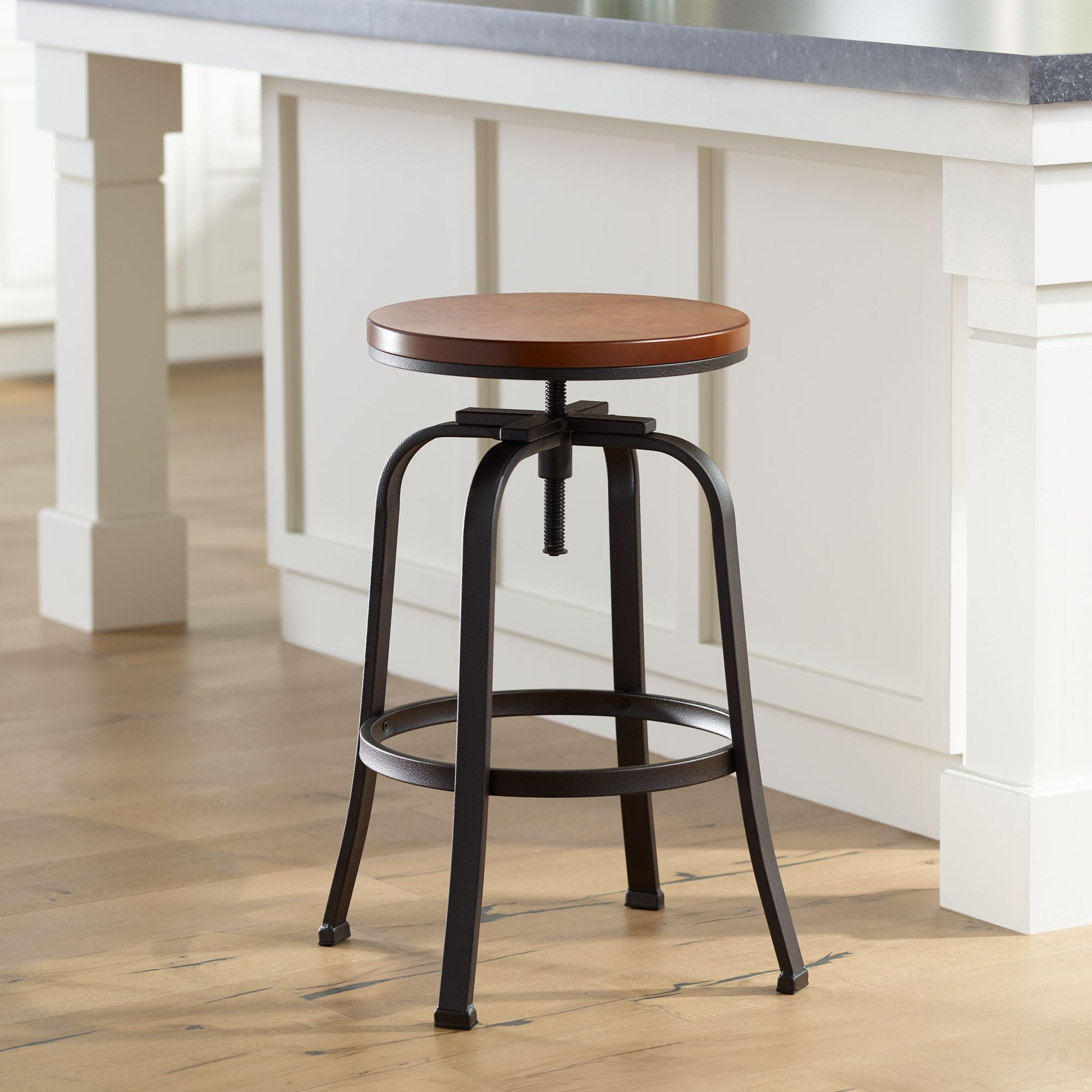 Radin Hammered Bronze Adjustable Height Swivel Bar Stool