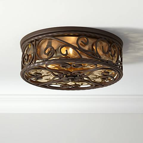 "Casa Seville 15"" Wide Walnut Indoor-Outdoor Ceiling Light"