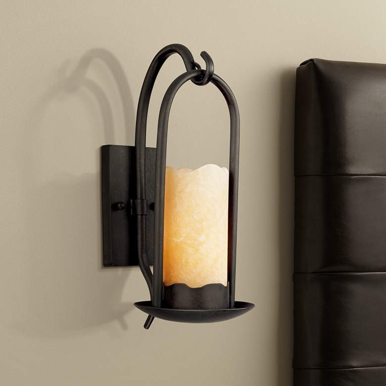 Lights Plus Decor: Hanging Onyx Faux Candle Wall Sconce - #51685
