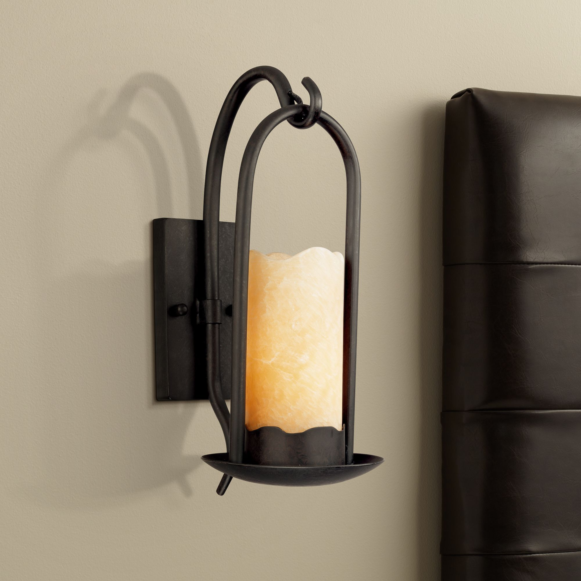 Charmant Hanging Onyx Faux Candle Wall Sconce