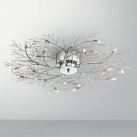 "Possini Euro Branch 30 1/2"" Wide Chrome Ceiling Light"